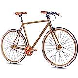 CHRISSON 28 Zoll Vintage Fixie Singlespeed Retro Fahrrad FG Flat 1.0 Gold 56 cm - Urban Old School Fixed Gear Bike für Damen und Herren