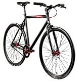 "Chill Singlespeed 700c Fixie Bike Retro Fahrrad Fitnessbike Fixie 28"" Rennrad (schwarz/rot, 56 cm)"