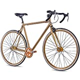 CHRISSON 28 Zoll Vintage Fixie Singlespeed Retro Fahrrad FG Road 1.0 Gold 56 cm - Urban Old School Fixed Gear Bike für Damen und Herren
